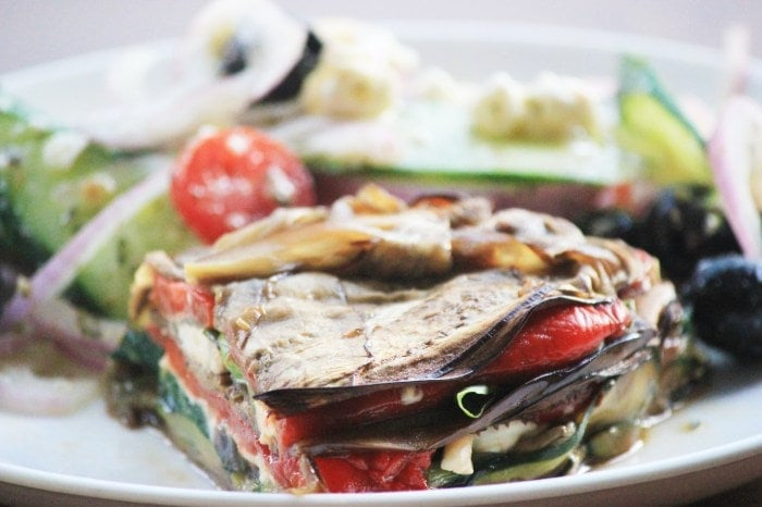 My PCOS Kitchen - Roasted Vegetable Terrine Pie - This Primal terrine is made with roasted vegetables and served with a creamy goat cheese. Gluten-free, sugar-free, and low carb!
