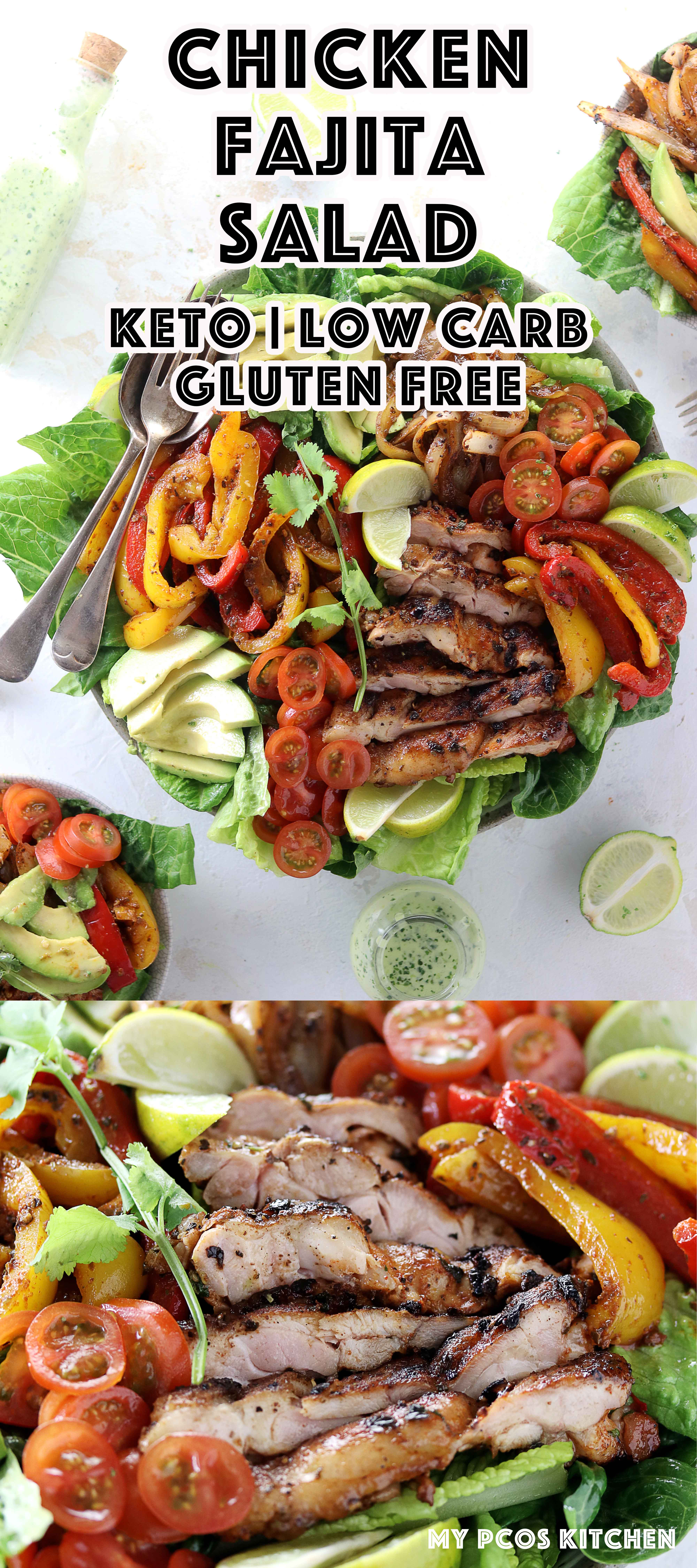 Keto Low Carb Chicken Fajita Salad - My PCOS Kitchen - A delicious low carb fajita salad with marinated chicken thighs and lots of veggies. #chickenfajita #fajitasalad #lowcarb #keto #ketogenic #ketofajitas #lchf