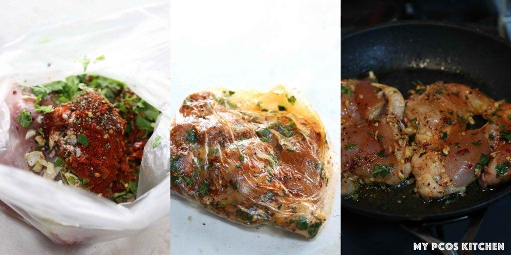 Keto Low Carb Chicken Fajita Salad - My PCOS Kitchen - Marinated chicken thighs for chicken fajita.