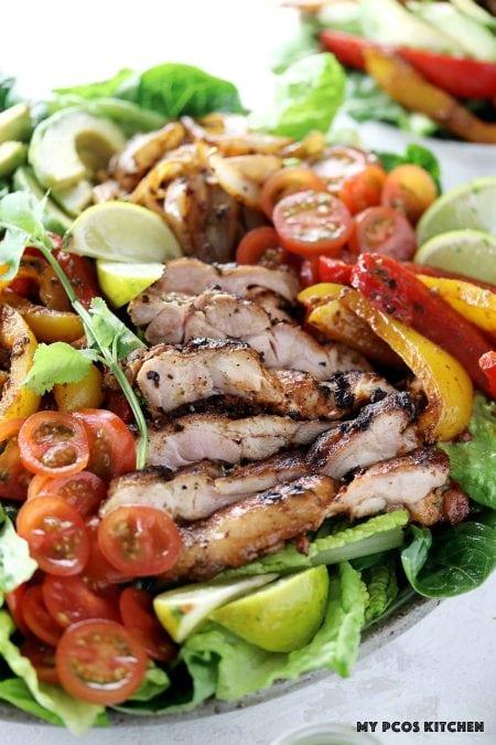 Keto Low Carb Chicken Fajita Salad - My PCOS Kitchen - Marinated chicken thighs for fajita salad.