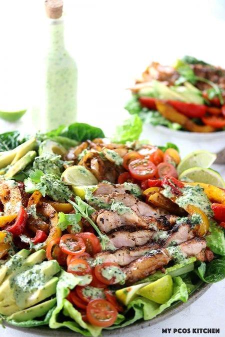 Keto Low Carb Chicken Fajita Salad - My PCOS Kitchen - Fajita chicken salad with a fajita salad dressing.