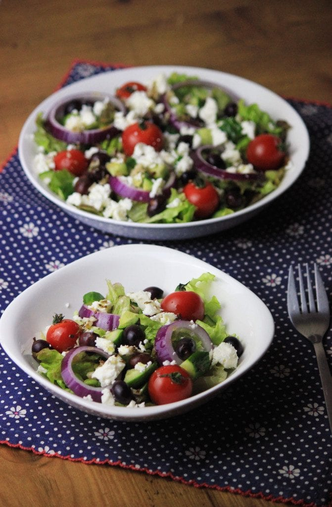 My PCOS Kitchen - Greek Salad - An authentic salad made with a fresh vinaigrette