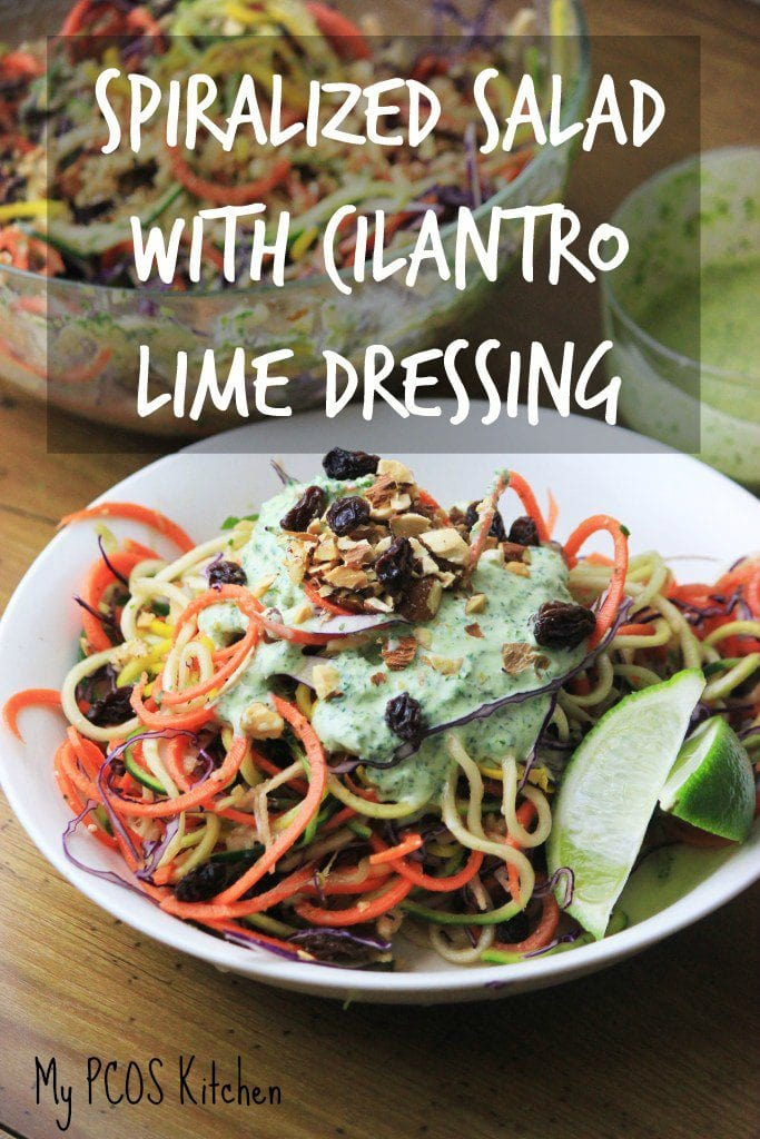 My PCOS Kitchen - Spiralized Salad with Cilantro Lime Dressing - A delicious low carb salad served with a homemade dressing! All gluten-free and sugar-free.