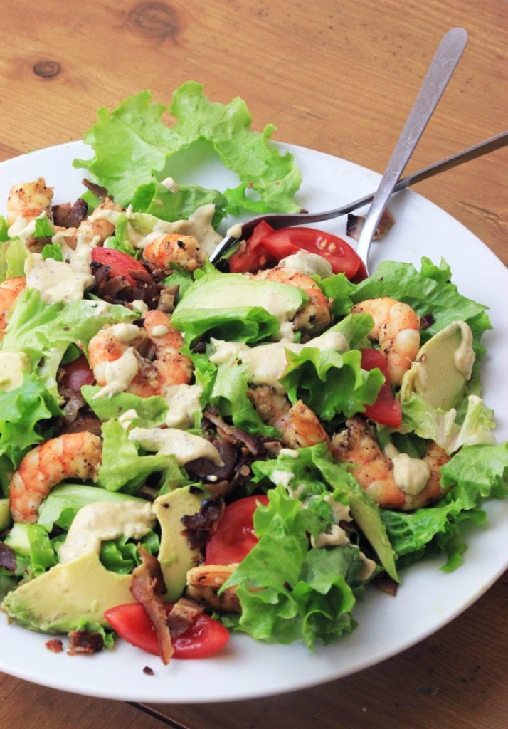 My PCOS Kitchen - Paleo Shrimp & Avocado Caesar Salad - The homemade dairy-free caesar dressing can go over anything you want!