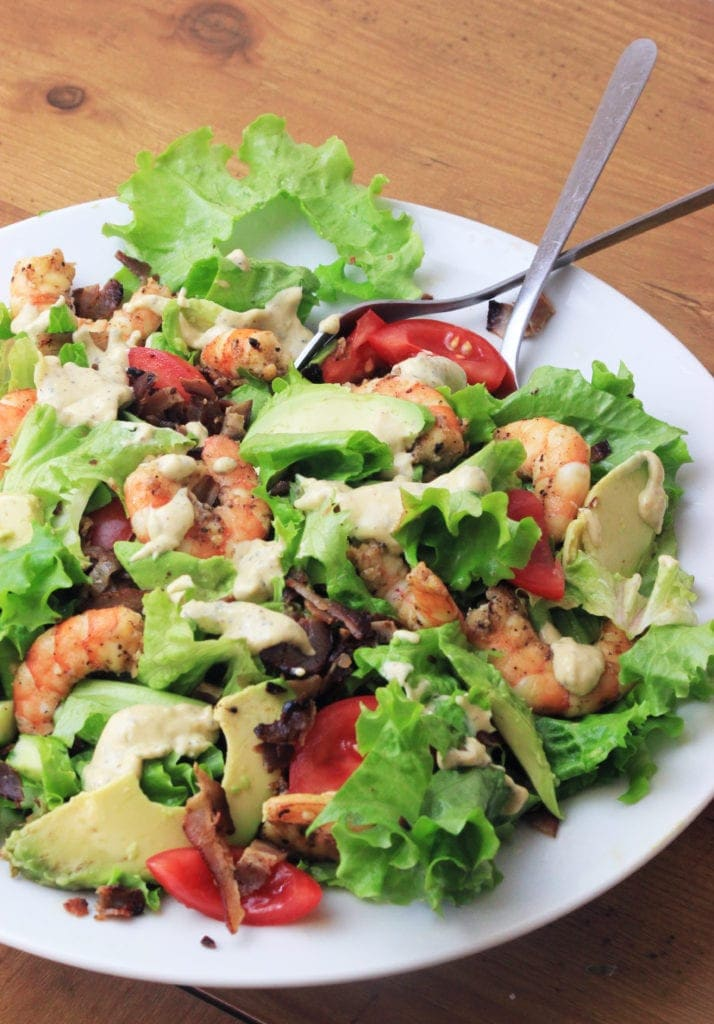 Paleo Shrimp Amp Avocado Caesar Salad My Pcos Kitchen