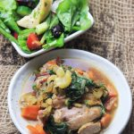 One pan Chicken & Swiss Chard with Artichoke Salad