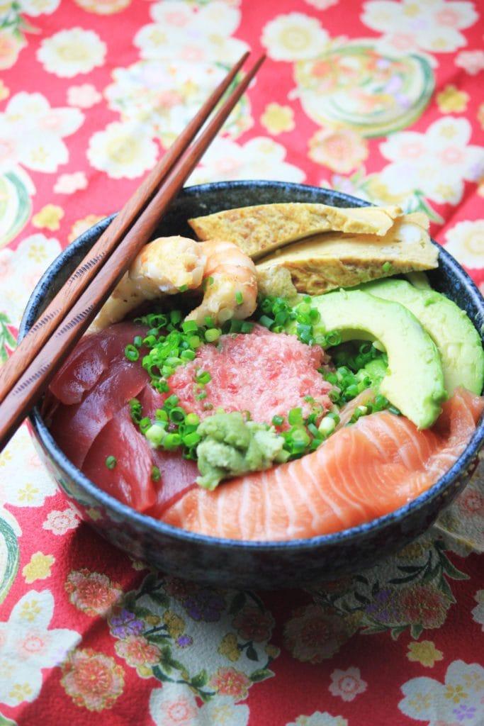My PCOS Kitchen - Japanese Sashimi Cauliflower Rice Bowl - Fresh cut of fish and veggies topped over cauliflower rice!