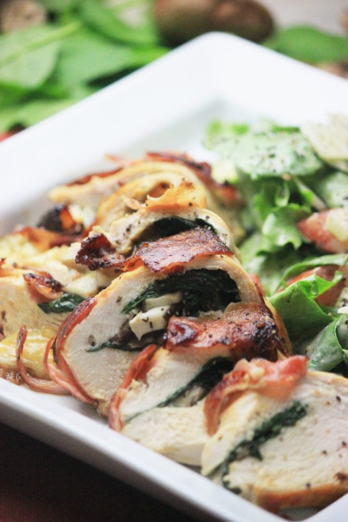 My PCOS Kitchen - Prosciutto-Wrapped Stuffed Chicken Breast with Spinach, Shiitake & Gouda - The best stuffed chicken breasts! All gluten-free, low carb and grain-free!