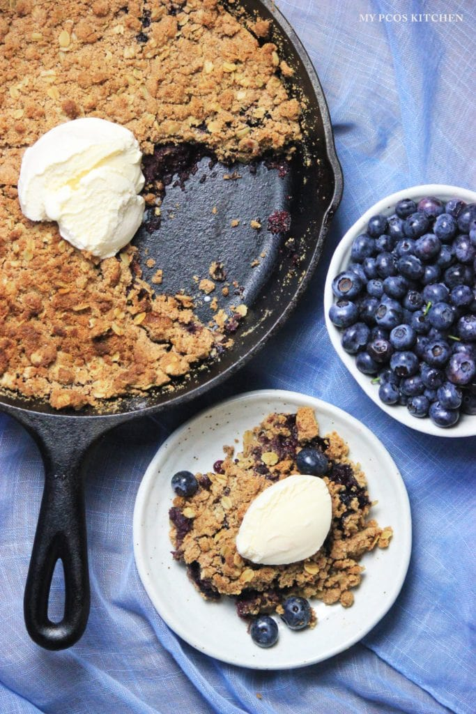 My PCOS Kitchen - Sugar-free & Gluten-free Blueberry Crumble - This delicious crumble is the perfect summer treat after having picked fresh blueberries.