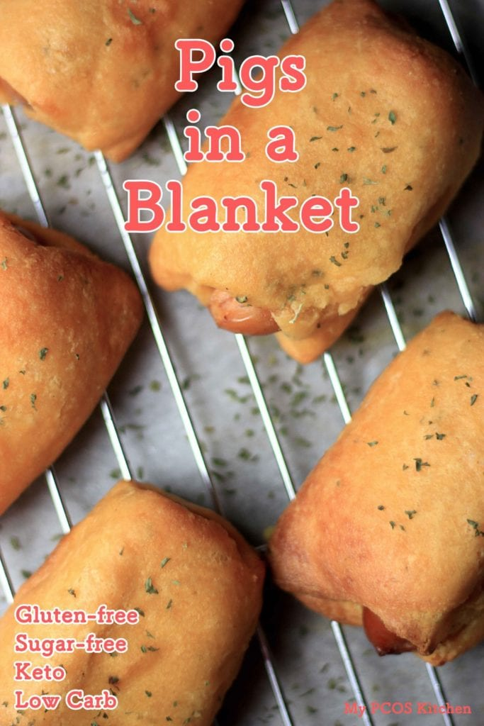 My PCOS Kitchen - Fathead Pigs in a Blanket - These are gluten-free, sugar-free, low carb and low calorie! They use a cheddar fathead base!