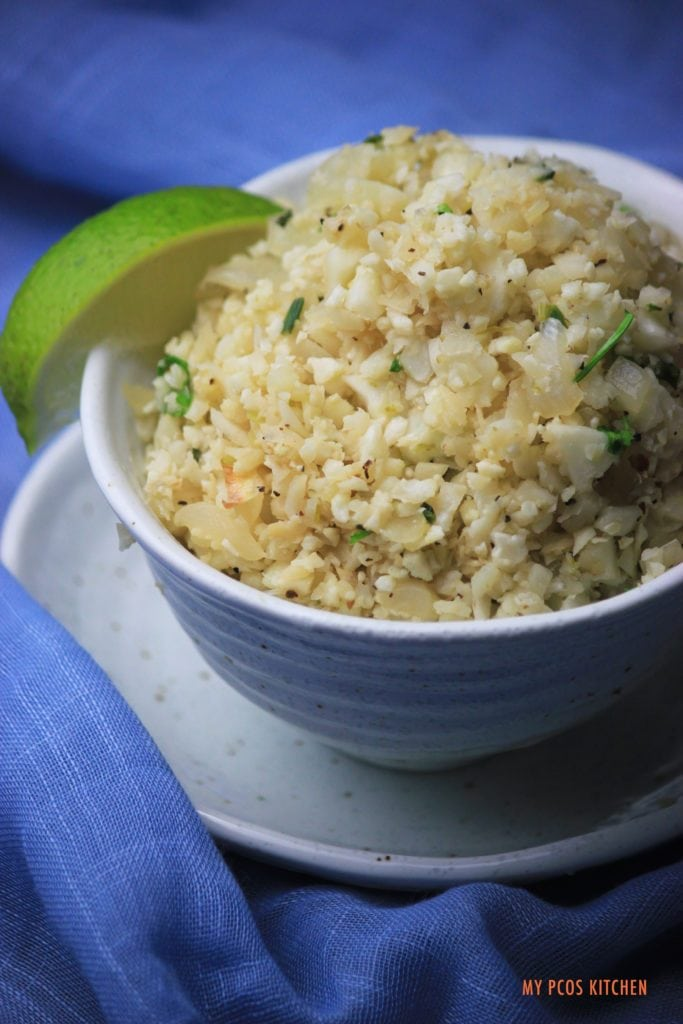 My PCOS Kitchen - Cilantro Lime Cauliflower Rice - Delicious gluten-free and low carb ''rice''.