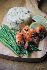 Cilantro Lime Shrimp Skewers & Cauli Rice
