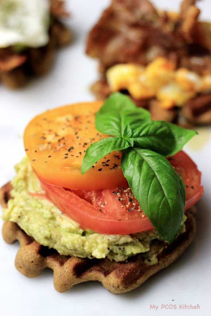 My PCOS Kitchen - Paleo Avocado Waffle Toast - These gluten-free and dairy-free waffles are topped with delicious avocado and tomatoes, or bacon and eggs!