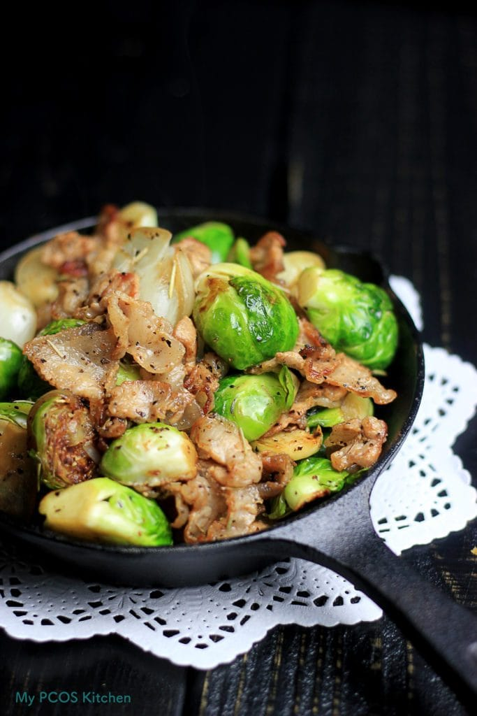 My PCOS Kitchen - Brussels Sprouts with Bacon - A paleo and keto simple appetizer or side dish! Low Carb, gluten-free and dairy-free.