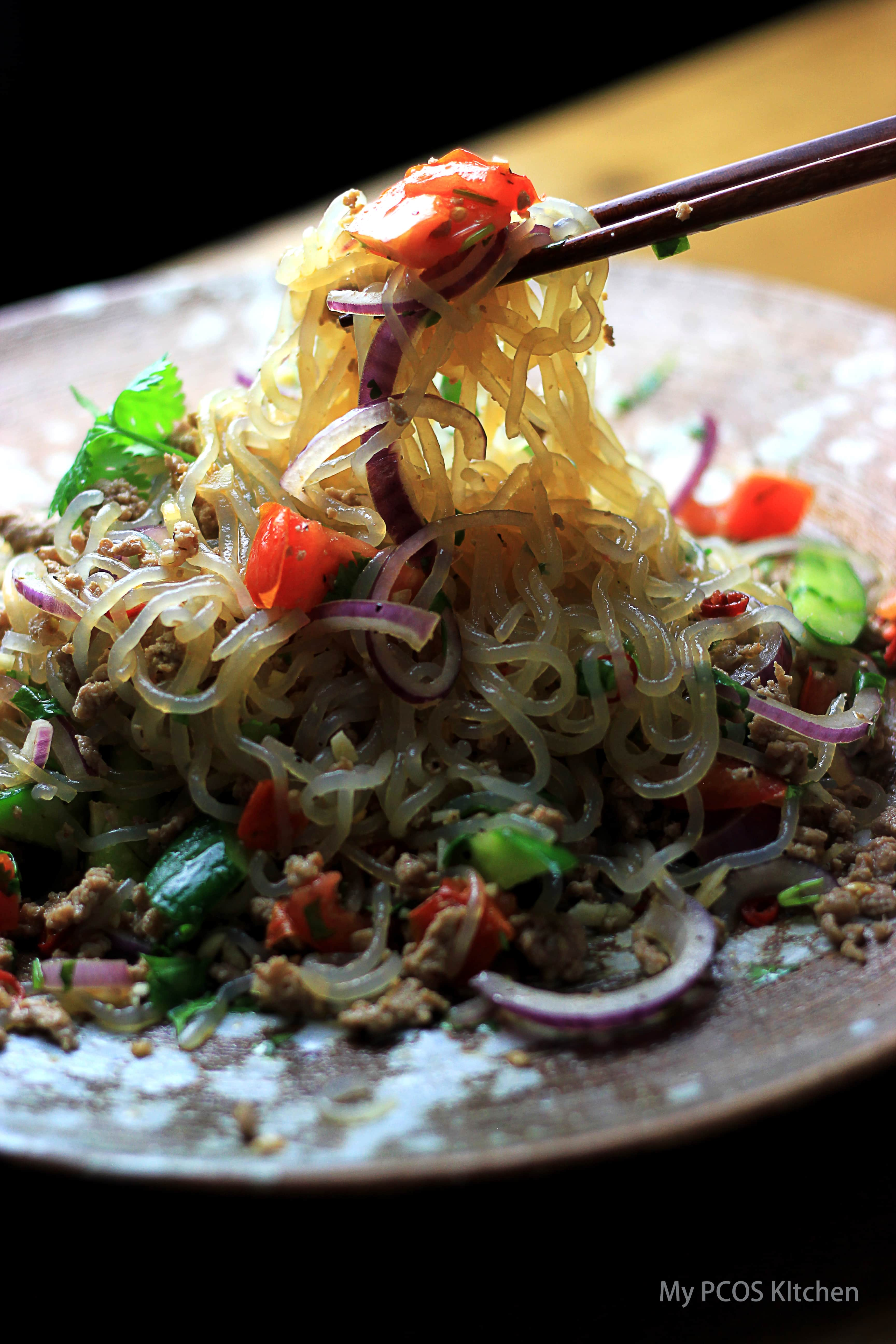 Paleo Thai Pork Salad with Konjac Noodles. This salad is the perfect low carb noodle salad and is packed with lots of delicious flavours!