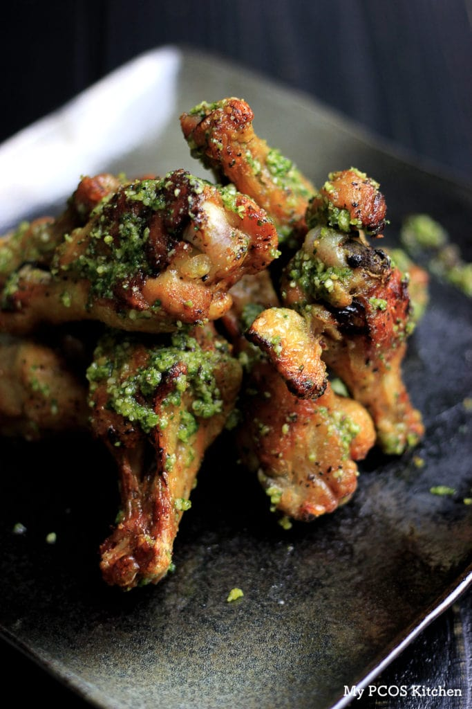 Pesto Chicken Wings - Delectable Paleo Chicken Wings with a Homemade Pesto Sauce. My PCOS Kitchen