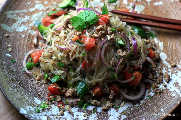My PCOS Kitchen - Thai Pork Salad with Konjac Noodles - This refreshing cold salad is made with gluten-free and soy-free ingredients so you can be sure to get a nice keto paleo low carb dinner!