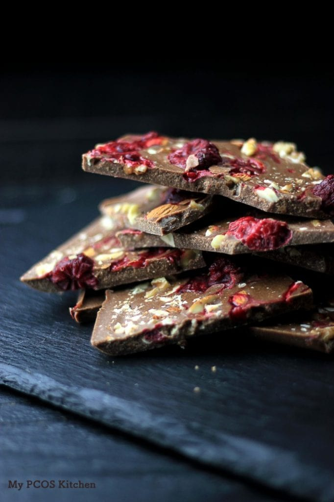 My PCOS Kitchen - Paleo Keto Raspberry Chocolate Fat Bombs - Delicious dairy-free, gluten-free and sugar-free chocolate bars!