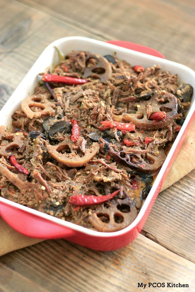 My PCOS Kitchen - Paleo Mississippi Roast with Lotus Root & Veggies. The perfect low carb and healthy beef roast with healthy ingredients! Dairy-free, sugar-free, gluten-free.