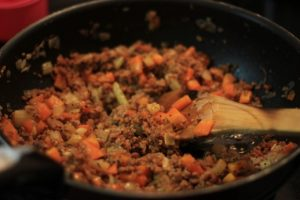 My PCOS Kitchen - Low Carb Shepherd's Pie - Mashed Cauliflower topped over delicious ground meat.