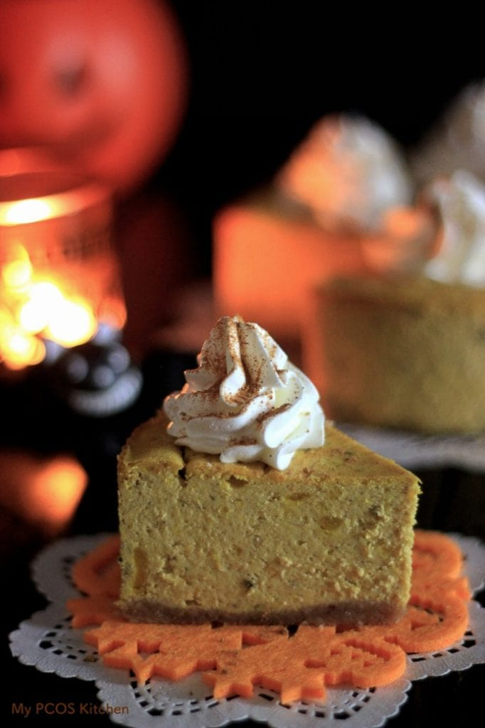 My PCOS Kitchen - Creamy Halloween Kabocha Cheesecake. This cheesecake is gluten-free and sugar-free. It is perfect for a low carb, keto, lchf