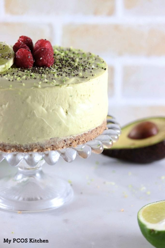 My PCOS Kitchen - Keto Avocado Lime Cheesecake (No Bake) - This creamy no bake cheesecake is coloured with healthy avocados and flavoured with fresh lime juice! All gluten-free and sugar-free!