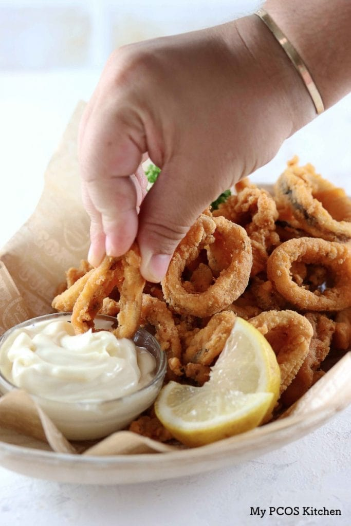 My PCOS Kitchen - Keto Fried Calamari - These delicious squid rings are gluten-free, starch-free and grain-free. They do not use parmesan, almond flour or pork rinds!
