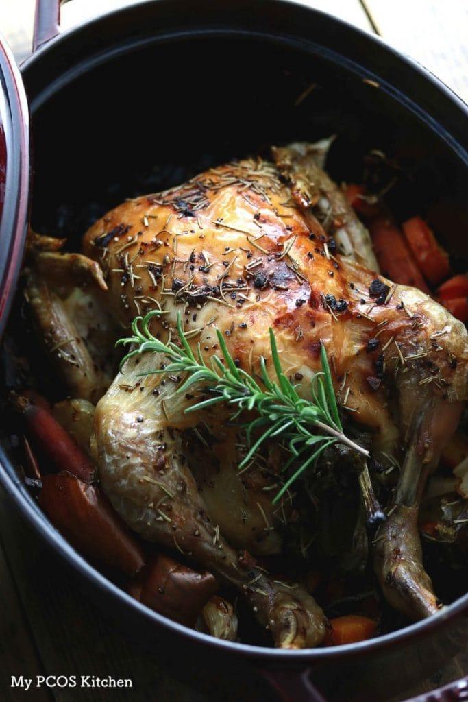 Keto Paleo Dutch Oven Roasted Chicken My Pcos Kitchen