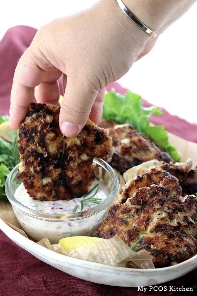 My PCOS Kitchen - Keto Paleo Chicken Fritters - Delicious dairy-free and gluten-free rosemary chicken fritters.