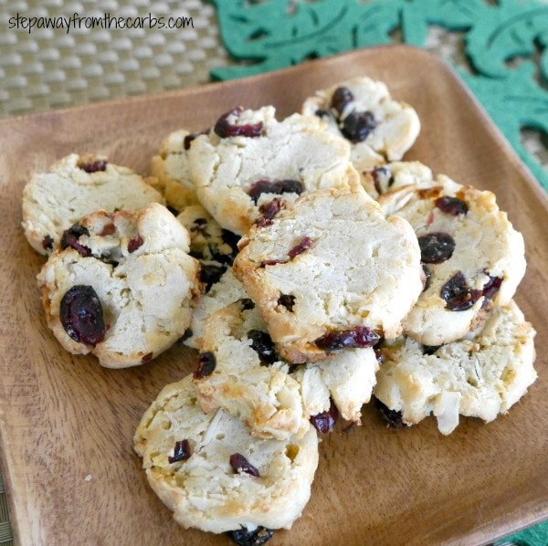 Low Carb Cranberry Almond Cookies - Step Away From The Carbs - 20 Low Carb Dairy-free Baked Goodies Recipes Roundup