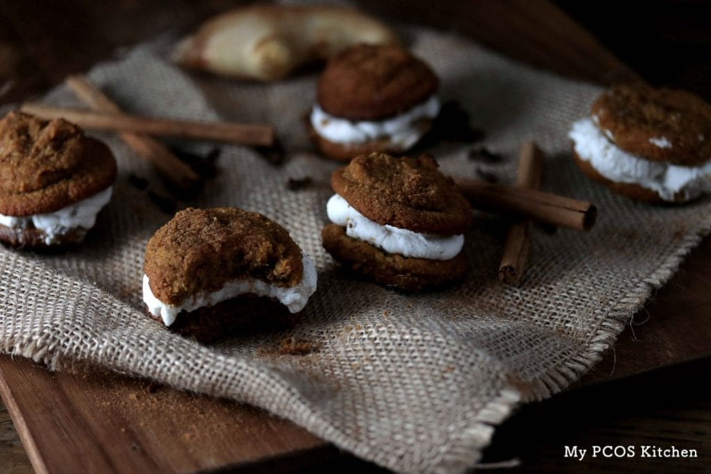 My PCOS Kitchen - Dairy-free Low Carb Pumpkin Whoopie Pies - Delicious and soft pumpkin cookies filled with a coconut cream icing! All sugar-free, dairy-free and gluten-free!