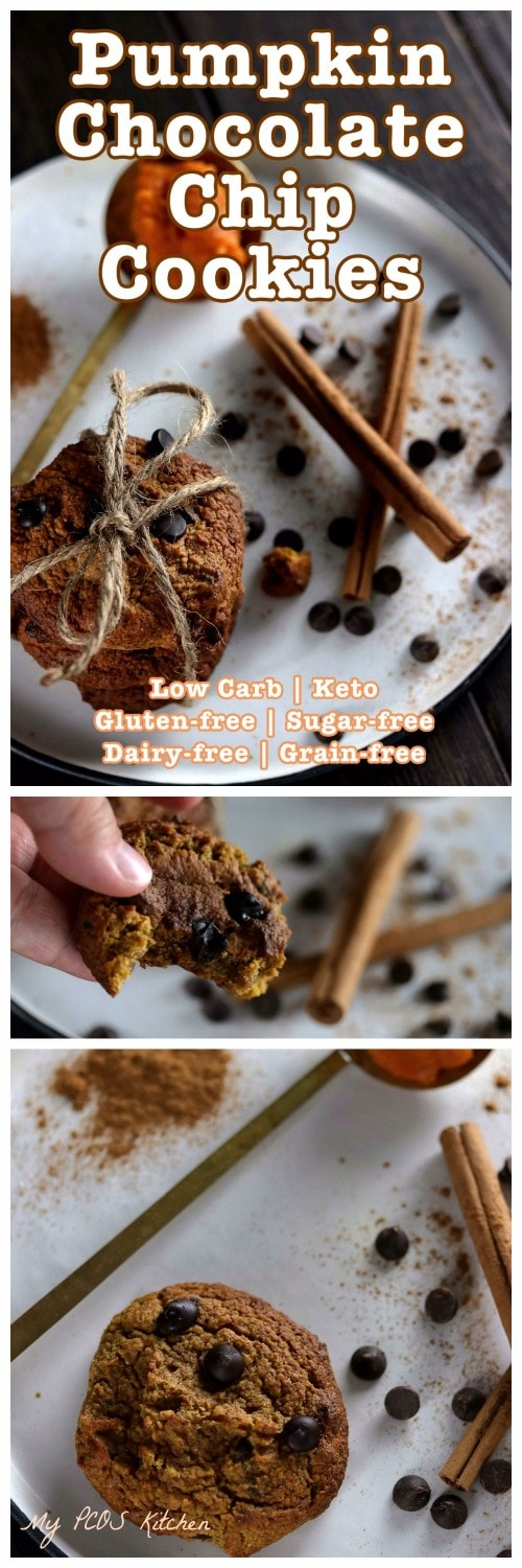 My PCOS Kitchen - Keto Flourless Pumpkin Chocolate Chip Cookies - These gluten-free, sugar-free and dairy-free cookies are perfect for Halloween or Thanksgiving! #keto #pumpkin #lowcarb #lchf #cookie
