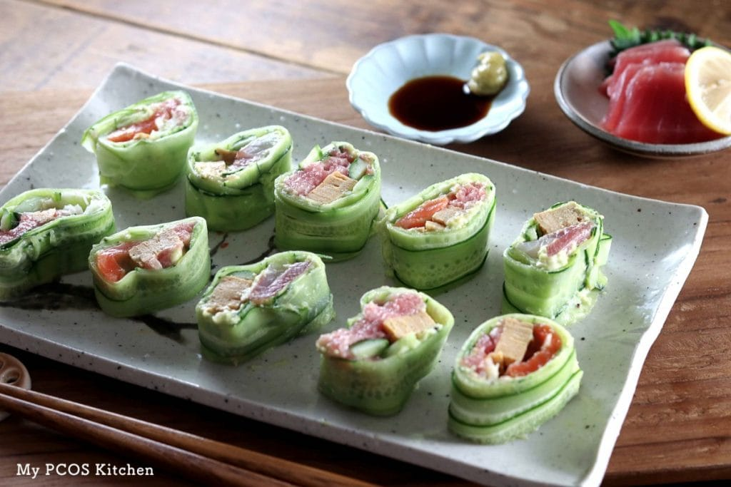 My PCOS Kitchen - Keto Paleo Sushi - Never eat sushi made with rice again when you have delicious cucumber wrapped sushi!