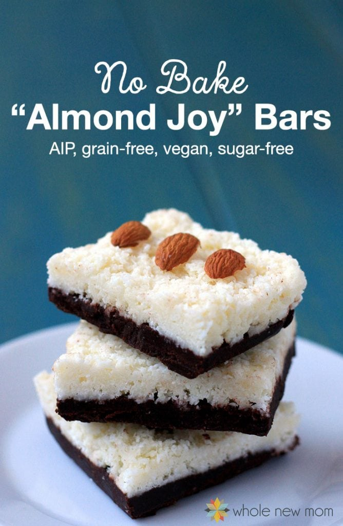 My PCOS Kitchen - Whole new Mom - Almond Joy Bars - Low Carb Halloween Recipes Roundup - These No-Bake Healthy Almond Joy® Bars are one of our fave recipes. They easy to make, freeze well & are loaded with coconut oil & other healthy ingredients.
