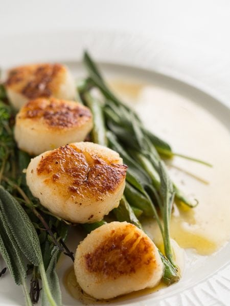 Pan Seared Scallops with Garlic Greens {Guest Post}