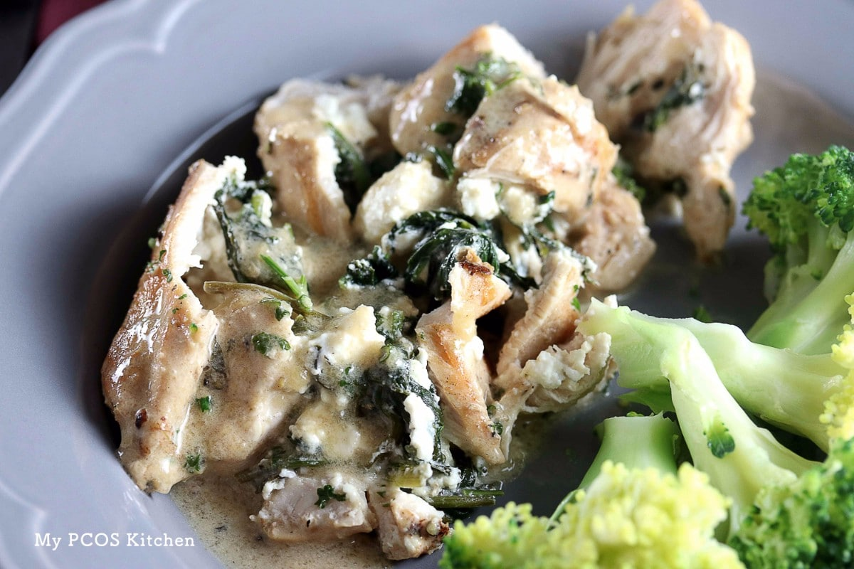 Keto Spinach and Feta Stuffed Chicken Breast - My PCOS Kitchen