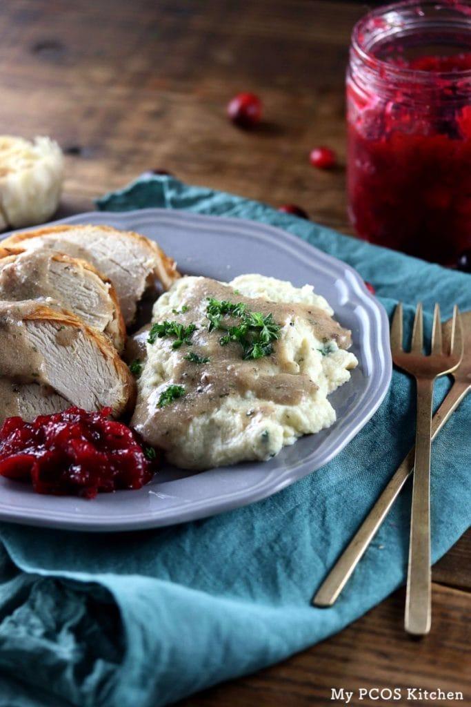 My PCOS Kitchen - Keto Turkey Giblet Gravy - Keto gravy served over mashed cauliflower and turkey breasts for thanksgiving.