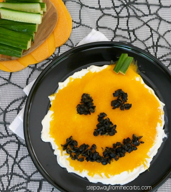 My PCOS Kitchen - Step Away from the Carbs - Low Carb Jack O Lantern Dip - Low Carb Halloween Recipes Roundup - This Jack O'Lantern dip is such fun to serve at a Halloween party! Only three ingredients required; low carb / LCHF / keto recipe.