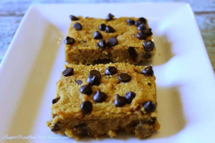 My PCOS Kitchen - Low Carb Yum - Pumpkin Chocolate Chip Bars - Low Carb Halloween Recipes Roundup - Easy to make low carb pumpkin chocolate chip bars are gluten free and sugar free. They're so good even the kids love them.