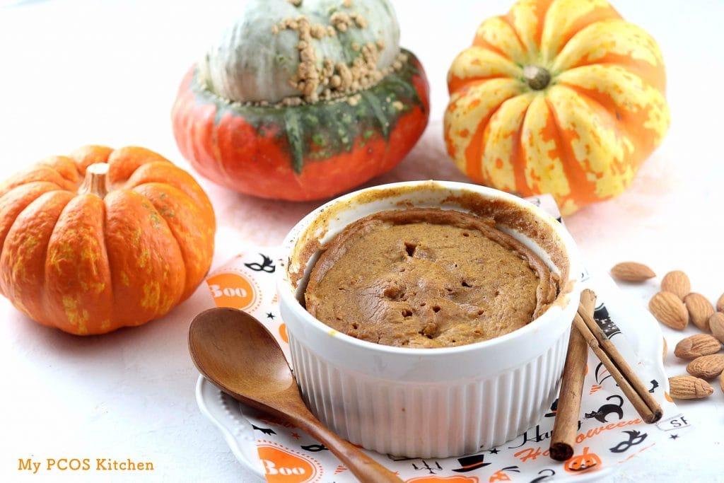 My PCOS Kitchen - Low Carb Pumpkin Mug Cake - Mug Cake made in Ramekin - Low Carb Gluten-free Sugar-free
