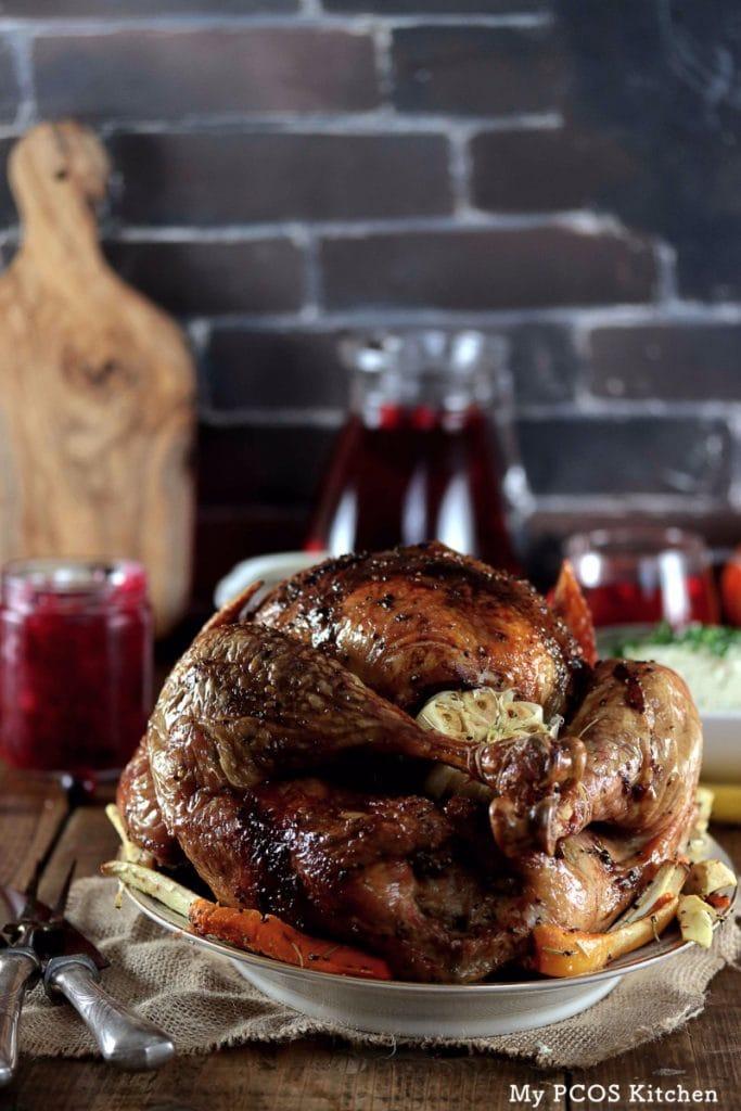 My PCOS Kitchen - Keto Thanksgiving Turkey - Roasted Turkey with brick wall. Crispy skin.