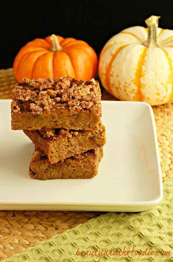 My PCOS Kitchen - Beauty and the Foodie - 40+ Low Carb Thanksgiving Recipes - Magical Paleo Pumpkin Crumble Bars