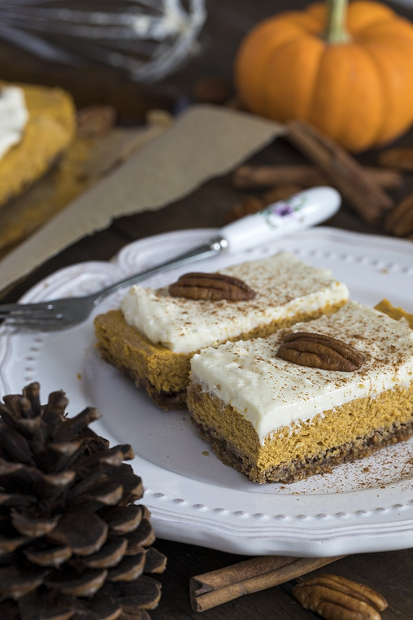 My PCOS Kitchen - Tasteaholics - 40+ Low Carb Thanksgiving Recipes - Pumpkin Cheesecake Bars