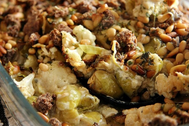My PCOS Kitchen - Divalicious Recipes - 40+ Low Carb Thanksgiving Recipes - Brussels Sprouts & Cauliflower Gratin