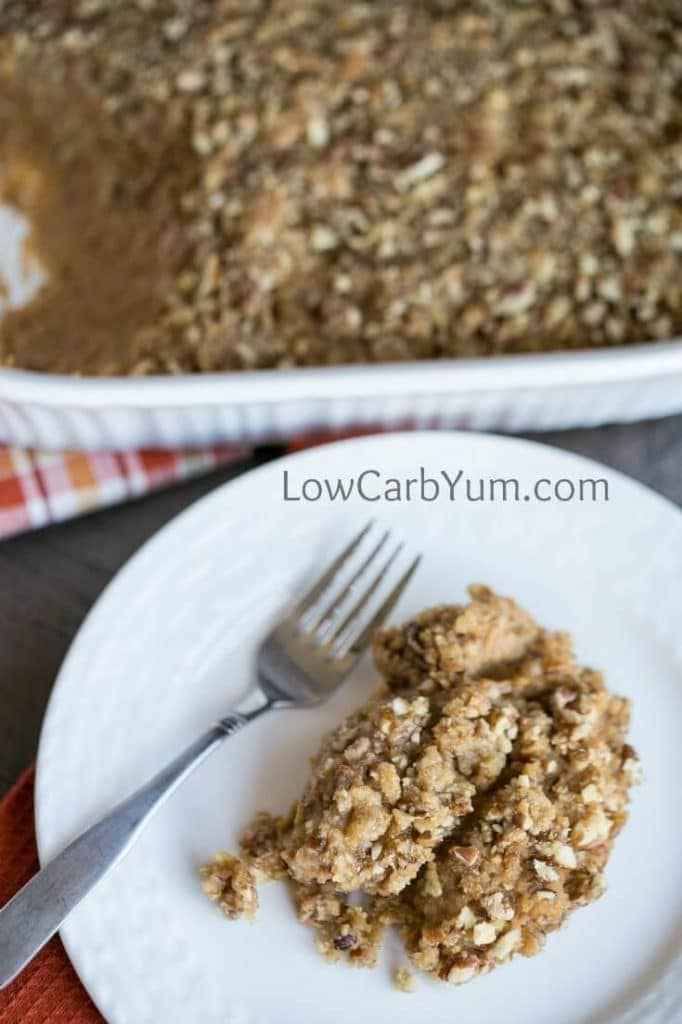 My PCOS Kitchen - Low Carb Yum - 40+ Low Carb Thanksgiving Recipes - Mock Low Carb Sweet Potato Casserole with Pecans
