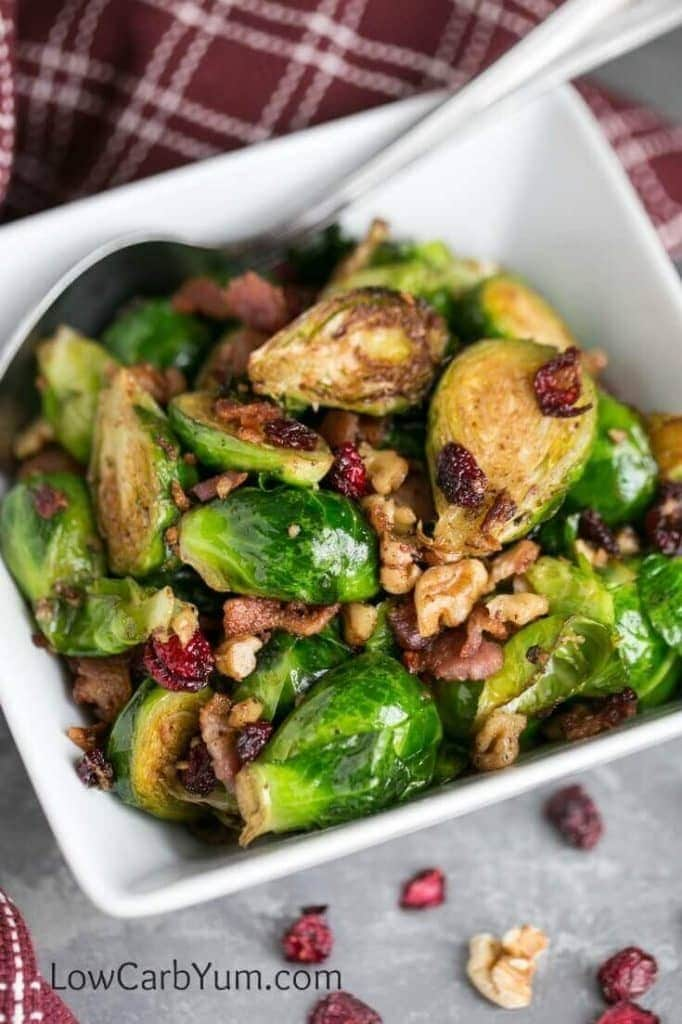 My PCOS Kitchen - Low Carb Yum - 40+ Low Carb Thanksgiving Recipes - Pan Fried Brussels Sprouts with Bacon & Cranberries