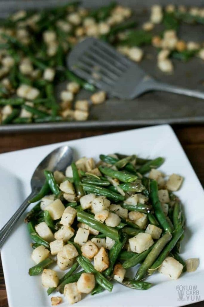 My PCOS Kitchen - Low Carb Yum - 40+ Low Carb Thanksgiving Recipes - Roasted Jicama with Green Beans