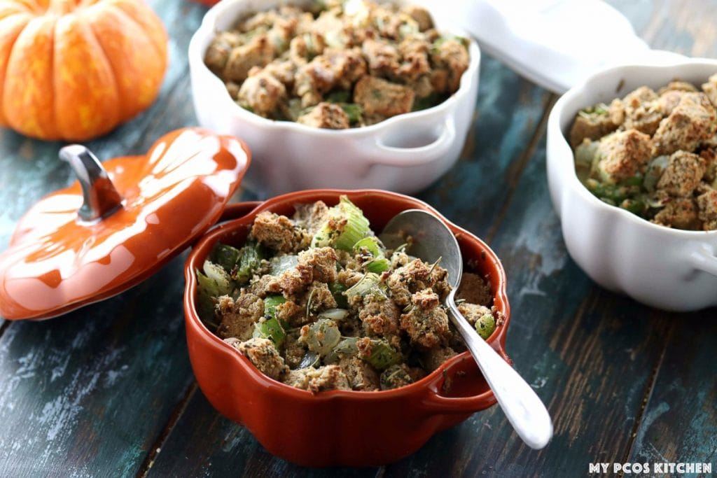 My PCOS Kitchen - Low Carb Stuffing with Sausage - Gluten-free stuffing in small pumpkin cocottes and ramekins from Staub.
