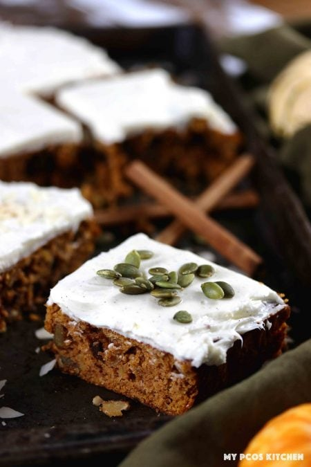 Low Carb Gluten Free Pumpkin Bars with Cream Cheese Frosting