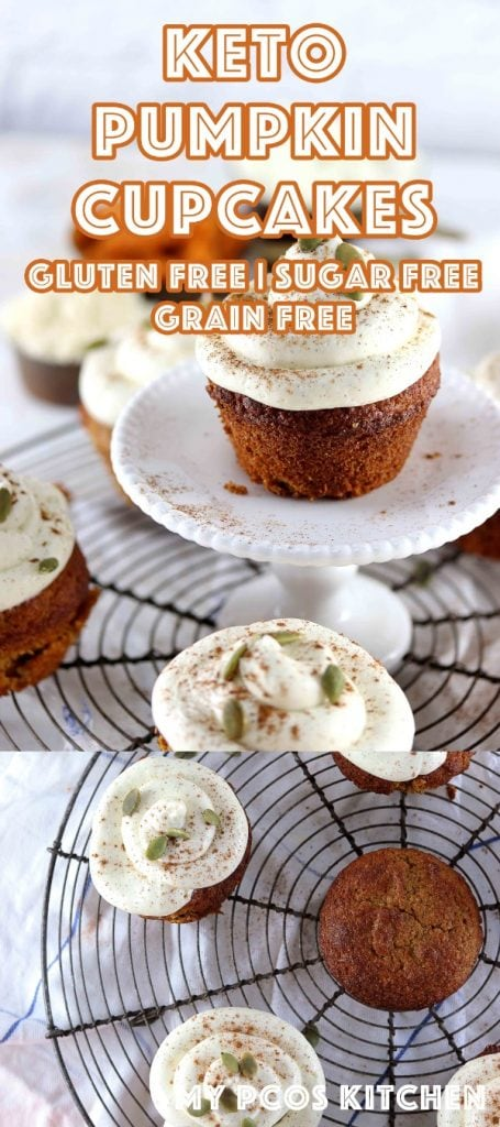 Keto Low Carb Pumpkin Spice Cupcakes Recipe - My PCOS Kitchen - Delicious sugar free, gluten free and egg free pumpkin spice cupcakes with a decadent cream cheese frosting. #pumpkincupcakes #ketocupcakes #lowcarbcupcakes #pumpkin #sugarfreebaking #sugarfreecupcakes #creamcheesefrosting #lowcarb #lchf